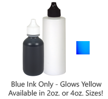 This refill ink is invisible and is great for stamping on industrial surfaces. Blue UV ink which glows yellow. Dries in 30 seconds. Ships in 1-2 business days.