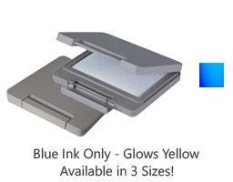 This invisible blue ink stamp pad glows yellow under a UV black light. Ideal for stamping on skin. Pad locks tight for storage & ships in 1-2 business day.