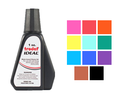 This 1oz bottle of ink works on all Ideal, Trodat, Cosco or Shiny self-inking stamps. Water-based ink in 11 colors to choose from. Orders ship free over $45.