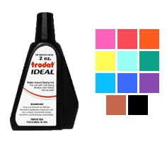 This 2oz bottle of ink works on all Ideal, Trodat, Cosco or Shiny self-inking stamps. Water-based ink in 11 colors to choose from. Orders ship free over $45.