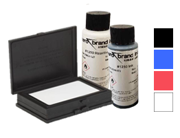 MARK II fast dry ink kit comes w/ ink pad, reactivator & ink (choose between 4 colors). Marks various non-absorbent surfaces & USDA approved!
