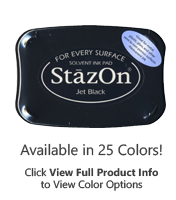 This standard ink pads adhere to paper, acrylic, metal, leather, shrink plastic, cellophane, plastic & glass. Avail. in 23 colors. Ships in 1-2 business days!
