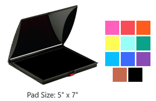 This large stamp pad has water-based ink that is available in 11 ink color choices and is reinkable. Free shipping on orders over $10!