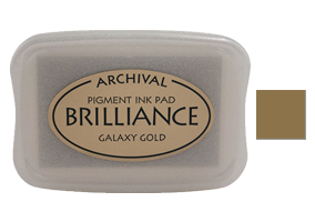 "This 3-3/4"" x 2-5/8"" stamp ink pad comes in galaxy gold and is excellent for use on many surfaces. Acid free, water-based. Ships free in 1-2 business days!"