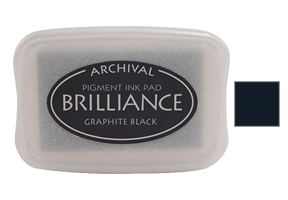 "This 3-3/4"" x 2-5/8"" stamp ink pad comes in graphite black and is excellent for use on many surfaces. Acid free, water-based. Ships free in 1-2 business days!"