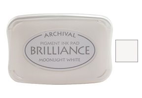 "This 3-3/4"" x 2-5/8"" stamp ink pad comes in moonlight white and is excellent for use on many surfaces. Acid free, water-based. Ships free in 1-2 business days!"