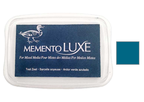 "This 3-13/16"" x 2-11/16"" stamp ink pad comes in teal zeal and is a rich bendable pigment excellent for many surfaces. Ships free in 1-2 business days!"