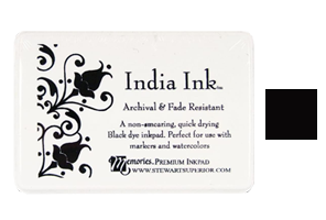 """This 2-1/4"""" x 3-1/2"""" stamp ink pad comes in India ink black and is excellent for paper crafts. Acid free and fade-resistant. Orders over $45 ship free!"""