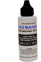 Refill your Ultimark pre-inked stamps in your choice of 11 ink colors! 1/2 oz. bottle will last for several thousand uses. Free shipping on orders over $45