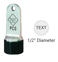 "This 1/2"" round metal inspection stamp is customizable with text or artwork. Use with industrial inks or traditional stamp pad. Ships in 3-5 business days."