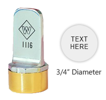 "Customize this 3/4"" round inspection stamp free with up to 2 lines of text. Use with industrial inks or traditional stamp pad. Ships in 3-5 business days."