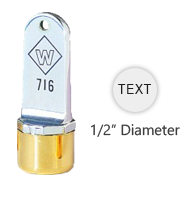 "Customize this 1/2"" top quality inspection stamp with text or artwork. Use with industrial inks or traditional stamp pad. Ships in 3-5 business days."