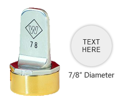 "Personalize this 7/8"" top quality metal inspection stamp with text or artwork. Use with industrial inks or traditional stamp pad. Ships in 3-5 business days."