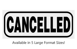 This Rectangle Cancelled large stock message stamp comes on a wood hand stamp and in one of 5 sizes. Separate ink pad required. Orders over $25 ship free!