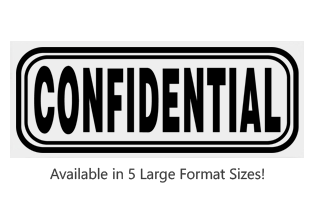 This Rectangle Confidential large stock message stamp comes on a wood hand stamp and in one of 5 sizes. Separate ink pad required. Orders over $25 ship free!