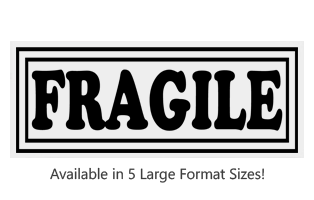 This Fragile with frame large stock message stamp comes on a wood hand stamp and in one of 5 size choices. Separate ink pad required. Orders over $25 ship free!