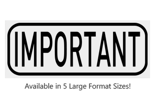 This Rectangle Important large stock message stamp comes on a wood hand stamp and in one of 5 size options. Separate ink pad required. Orders over $25 ship free!