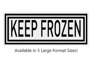 This Rectangle Keep Frozen large stock message stamp comes on a wood hand stamp and in one of our 5 sizes. Separate ink pad required. Orders over $25 ship free!