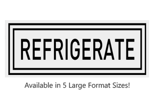This Rectangle Refrigerate large stock message stamp comes on a wood hand stamp and in one of our 5 sizes. Separate ink pad required. Orders over $25 ship free!