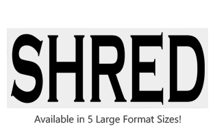 This Rectangle Shred large stock message stamp comes on a wood hand stamp and in one of our 5 size options. Separate ink pad required. Orders over $25 ship free!
