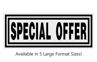 This Rectangle Special Offer large stock message stamp comes on a wooden hand stamp and in one of 5 sizes. Separate ink pad required. Orders over $45 ship free!