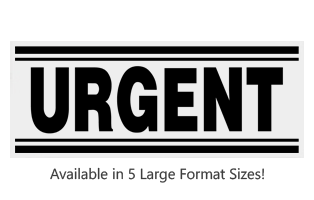 This Rectangle Urgent large stock message stamp comes on a wood hand stamp and in one of 5 size choices. Separate ink pad required. Orders over $45 ship free!