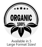 This large Round 100% Organic stock message stamp comes on a wood stamp and in a choice of 5 sizes. Separate ink pad required. Orders over $25 ship free!