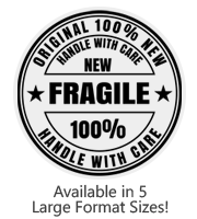 This large Round Fragile stock message stamp comes on a wood stamp and in a choice of 5 sizes. Separate ink pad required. Orders over $25 ship free!