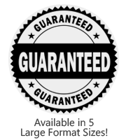 This large Round Guaranteed stock message stamp comes on a wood stamp and in a choice of 5 sizes. Separate ink pad required. Orders over $25 ship free!