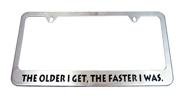 This stainless steel license plate frame can be engraved with your custom text. Add style to your vehicle with this personal frame. Orders over $45 ship free.