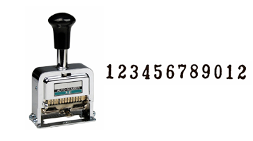 This high quality 12-wheel automatic	numbering machine is ideal for repetitive and sequential numbering. Includes dry pad, 1 oz. ink bottle and stylus.