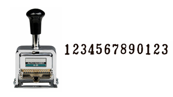 This 13-wheel LION automatic numbering machine is ideal for repetitive and sequential numbering. Includes dry pad, 1 oz. ink bottle and stylus.
