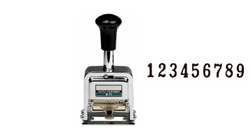 "This 9-wheel LION automatic number has Roman style, 11/64"" (12 pt.) font, and has 7 movement settings. Includes dry pad, ink and stylus."
