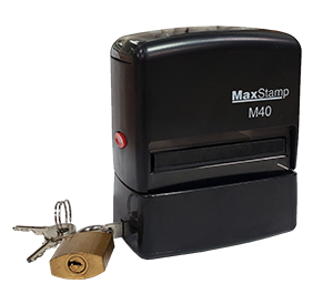 "This self-inking stamp locks for extra security! Customize your own 7/8"" x 2-3/8"" stamp in one of 11 ink colors! Free shipping on orders over $45!"