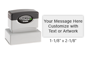 The MaxLight 125 stamp can be personalized with up to 5 lines of text or custom artwork. Available in 5 ink colors.