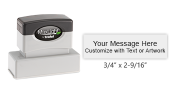 """Custom design this 3/4"""" x 2-9/16"""" MaxLight 145 pre-inked stamp with up to 3 lines of text or small artwork. Available in 5 color options."""
