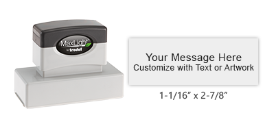 Make this stamp unique to you! Customize up to 5 lines of text or custom artwork. Available in 5 striking ink colors. Orders over $45 ship free!