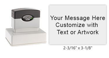 """Design this 2-3/16"""" x 3-1/8"""" MaxLight 225 pre-inked stamp with up to 11 lines of text or art. Available in 5 ink colors and is an essential home and business tool."""