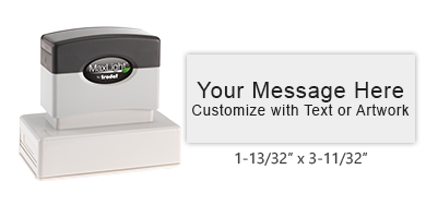 """Customize this 1-13/32"""" x 3-11/32"""" pre-inked stamp with up to 7 lines or text or custom artwork. Choose from 5 stunning inks. All orders over $45 ship free!"""