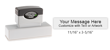 Customize this pre-inked MaxLight XL-265 with 4 lines of text or artwork, available in 5 ink colors. Free shipping on orders over $45!