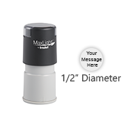 Customize this round pre-inked stamp with 3 lines or text or small logo in a choice of 5 ink colors. Orders over $45 ship free!