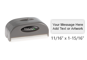 """Design this 11/16"""" x 1-15/16"""" MaxLight 42 pre-inked stamp with up to 3 lines of text or art. Available in 5 ink colors and ideal for on-the-go use!"""