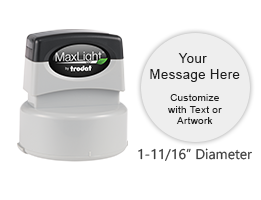 Create and personalize up to 5 lines of text or custom artwork for this round pre-inked stamp. Available in 5 ink options. Orders over $45 ship free!