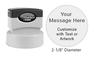 Personalize this MaxLight round pre-inked stamp with 8 lines of text or logo in a choice of 5 ink colors. Orders over $45 ship free!