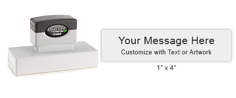 """Design this 1"""" x 4"""" MaxLight pre-inked stamp with up to 5 lines of text or custom artwork. Available in 5 ink colors and ideal for the home of office!"""