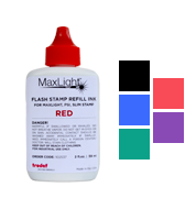 Oil-based refill ink for all Maxlight, Slim and Super Slim stamps. Available in 5 ink colors. Orders over $45 ship free!