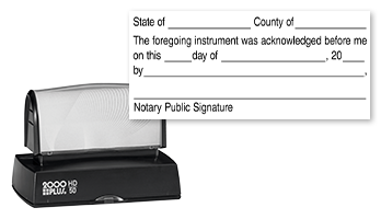 This notary public stamp lets you perform an official acknowledgement on a document with a convient pre-inked Cosco HD-50 stamp mount. Orders over $25 ship free!