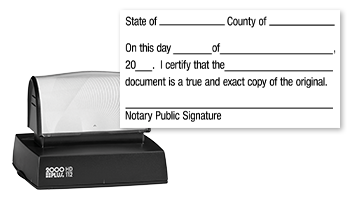 This notary public stamp lets you certify a document as a true copy with a convient pre-inked Cosco HD-112 stamp mount. Orders over $25 ship free!