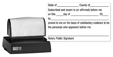 This notary public stamp allows for legal execution of a jurat for official documents. Available in black ink only. Orders over $25 ship free!