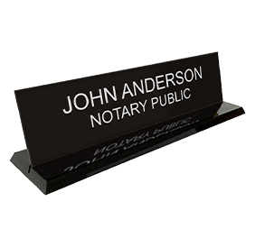 "This custom notary desk sign is 2"" x 8"" with two customizable lines of text. Available in 5 sign and 2 base colors. Orders over $25 ship free!"